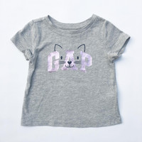 Kaos Logo Baby GAP Balita Perempuan 1 & 2 tahun Gray Kitty