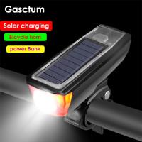 lampu klakson sepeda multifungsi sensor cahaya solar usb power bank
