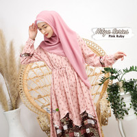 GAMIS WARNA PINK SUPER CANTIK MOTIF BUNGA AHZARAYY THE DAY