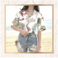 Kemeja Pantai Wanita Tropical Shirt Motif Daun Casual Impor China Mura - Putih
