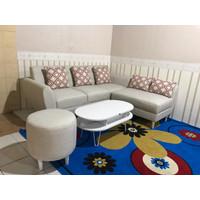 Sofa Putus Retro Kancing L Minimalis + Stool Bulat + Meja Coffeetable - Biru