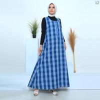 Gamis Muslim Jeans Motif Kotak Wanita Dewasa Kualitas Premium - 877650 - All Size, Biru