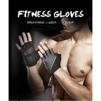 Gloves Weight Lifting Body Building Sarung Tangan Sepeda Gym Fitness - Abu-abu, S