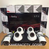 Paket cctv infinity 8 channel 6 kamera cctv infinity 2mp 1080p lengkap