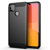 Armor Carbon TPU Case Xiaomi RedMi 9C - Casing Black Soft Cover Hitam