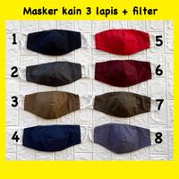Terima pesanan masker kain katun 3ply / 3 lapis filter + sablon logo