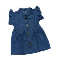 Dress Anak Perempuan Rapunzel Soft Jeans Ruffle Blue 1-5 Tahun - S