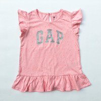 Kaos Logo Baby GAP Anak Perempuan 5 tahun Pink Stars