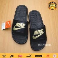 Sandal Slop Pria Wanita Benassi-Flip Flop-Hitam Gold