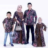 Baju Batik Couple Muslim Keluarga Modern / Gamis Ibu Anak Kekinian