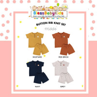 Mooi Button Rib Knit Set / Stelan Anak