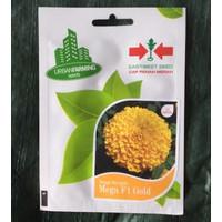 Isi 10 Benih Bunga Marigold Mega Gold Original Pack Panah Merah