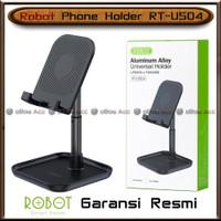 Phone Holder HP Tablet Robot RT-US04 Hitam Meja Tempat Universal