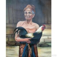 Lukisan Kakek dan Ayam Jagonya 60 x 80 cm - Abu-abu