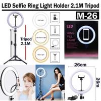 RING LIGHT LED 26CM LAMPU 26 CM MAKE UP VLOG RINGLIGHT + TRIPOD 2.1M