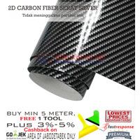 STICKER MOBIL 2D CARBON GLOSSY STIKER KARBON SERAT SILVER BUKAN 6D 5D