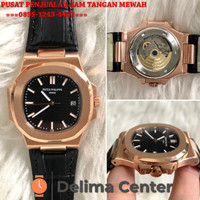 JAM TANGAN PATEK PHILIPPE NAUTILUS BLACK ROSEGOLD LEATHER