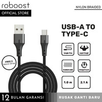 Kabel Data USB Type Tipe C Fast Charging 2.1A Nylon Braided 1M