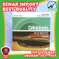 Senar Gitar Akustik String Daddario .012 Medium Light 85 Bronze EZ920