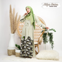 GAMIS WANITA MOTIF AHZARAYY THE DAY HILYA SERIES GREEN LIME