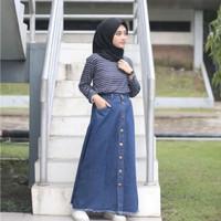Rok Jeans Panjang Button Up/Rok Jeans Kancing Rawis/Rok Levis Kancing