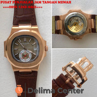 JAM TANGAN PATEK PHILIPPE NAUTILUS CHRONO ROSEGOLD BROWN LEATHER