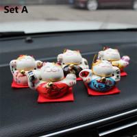 Pajangan Dashboard 5 in 1 Lucky Cat Kucing Hoki Maneki Necko Mobil - Set A