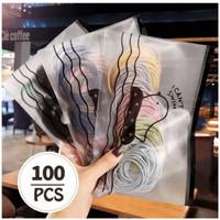 100Pcs Ikat Karet Rambut POLOS 5cm Elastis Warna Polos Gaya Korea Fash