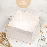 Kotak Box Dos Dus Kue Tart Cake Pie Pudding Putih Mika Ivory Ok 18 CM