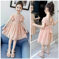 DRESS PESTA ANAK IMPORT MURAH KATUN LACE PEACH