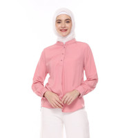 Blouse Basic Dusty Pink | Blouse Polos Kancing Pink - Dusty pink