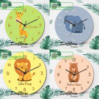 Jam dinding kayu unik dekorasi hewan animal cute hadiah kado anak