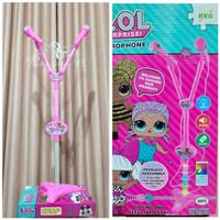 Mainan Karaoke Anak Microphone Stand Mic Karakter LOL
