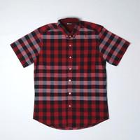 Baju kemeja katun import kotak merah pria lengan pendek - L