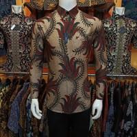 Kemeja Batik Slimfit pria lengan panjang alisan