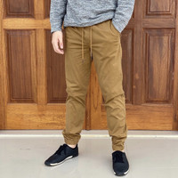 Celana Jogger GAP Twill Stretch Joggerpants Brown Original Chino