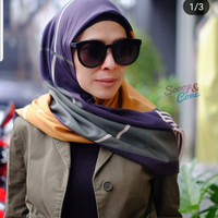 Jilbab Segi Empat Voal 87 Green Stripe by Scoope
