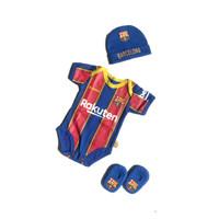 Jumper Bayi Karakter Club Barcelona Set Topi Kupluk Sepatu Bayi