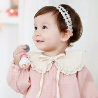 Bandana bando bayi Headband anak lace model renda - Putih Silver