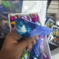 Mainan Tiruan Burung Kecil bahan Sequin isi 6