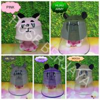 Topi Anti Corona Bayi / Face Shield Baby - Panda Series - Hijau Army