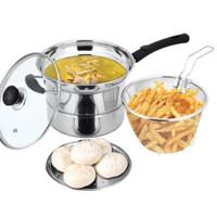 Deep Fryer Pan Stainless Pot 3 in 1 22cm | Panci Penggorengan Kukusan