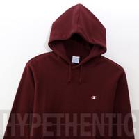 Champion Sweatshirt Basic Maroon Hoodie Original / Red Jacket / Merah - Merah, M