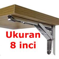DELAPAN Engsel Siku 8 Inch Stainless Steel Bracket Load 65kg JM007