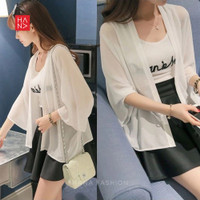 Lucia Basic Casual Cardigan Outer Wanita - WHITE, S