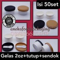 Paper cup/gelas ice cream 2oz+ttp+sendok