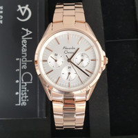 jam tangan wanita alexandre christie AC2890BF ORIGINAL GARANSI RESMI - Rosegold putih