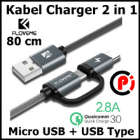 Floveme Kabel Charger 2 in 1 Micro USB + USB Type C QC3.0 2.8A 80cm