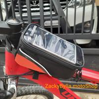Tas Frame Sepeda Kotak + Rain Cover Bag for Smartphone 5,5 inc