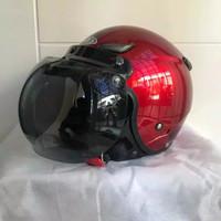 Helm JPN kawai momo maroon gloss kaca bogo